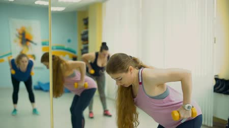 artı : Overweight Women Working Out with Dumbbells in a Fitness Studio in Slow Motion. Fitness Training with Personal Trainer at Gym. Fitness, Sport, Training, Weight Loss, Teamwork and Lifestyle Concept