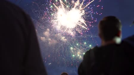 newyear : People Look at the Fireworks at Night and Celebrating City Founded. Beautiful Colorful Fireworks on Dark Night. The Concepts of Festivals and City Celebrations Stock Footage