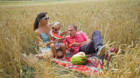 campo grano : Family of Three, Father, Mother and Daughter Eating Watermelon in the Wheat Field. Slow Motion. Family, Leisure and People Concept