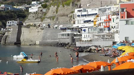 csatlakozott : Sant Angelo, Italy - September 28, 2019: Picturesque Beach of Sant Angelo on Ischia Island. Amazing Place with Colored Houses Joined to the Hill in the Tyrrhenian Sea.