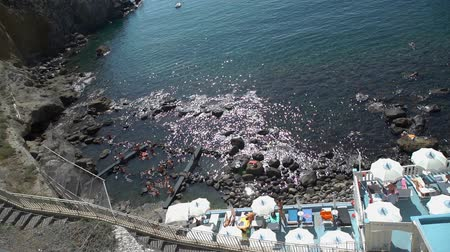 molas : Sorgeto, Italy - September 28, 2019: People Resting in Thermal Springs of Sorgeto Bay on Ischia Island, Italy. Natural Spa for the Heath of the Skin. Relax and Spa Concept