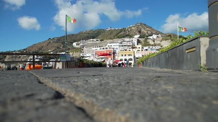 csatlakozott : View of Sant Angelo Village on Ischia Island, Italy. Marvellous Panorama with the Colored Houses Joined to the Hill on the Harbor. Concept of Holidays, Vacations and World Travel Concept Stock mozgókép
