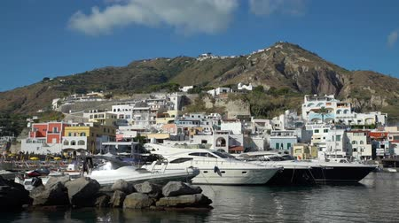 neapol : Spectacular Landscape View of Sant Angelo Village on Ischia Island, Italy. Beautiful Place with Colored Houses Joined to the Hill in the Tyrrhenian Sea. Wideo
