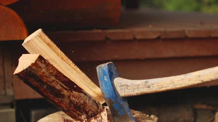 madeira : A slow-motion video of an axe splitting a piece of wood on a stump.