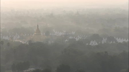 paya : Time lapse top view in beautiful countryside in the morning at Mandalay hill in Myanmar