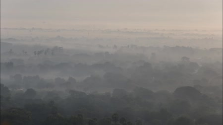 paya : Timelapse top view in beautiful countryside in the morning at Mandalay hill in Myanmar