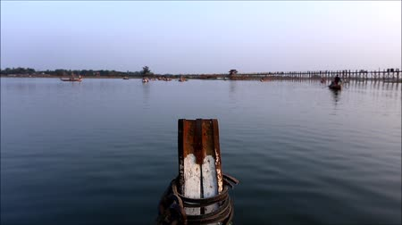 bridge man made structure : A head of boat in Amarapura lake Mandalay Myanmar