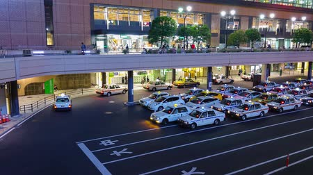 zęby : 4K timelapse of taxi queue in front of Railway station Sendai Japan