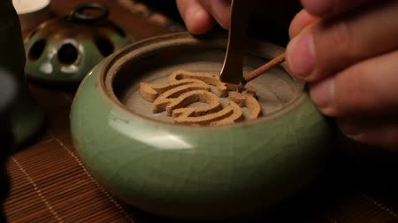 экзотичность : Incense burning. Chinese tea ceremony Стоковые видеозаписи