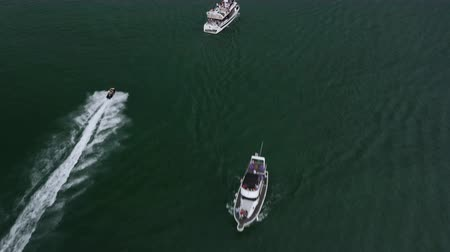 Speed ​​boat at sea drone shooting