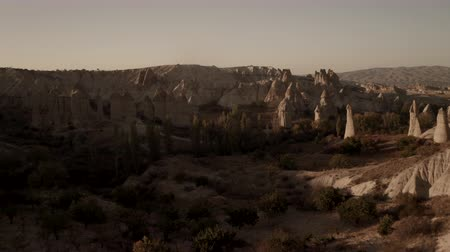 Valley of Love in Cappadocia. Flying drone between the rocks