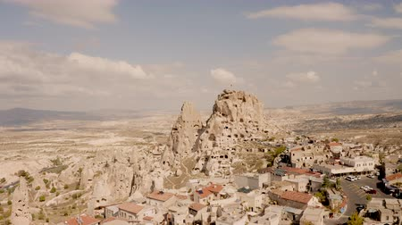 Cappadocia, Turkey. The famous castle Uchisar. 4K drone shooting Stock Footage