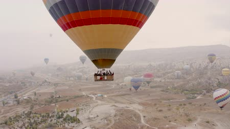 Cappadocia, Turkey. Drone shooting. The balloon flies very close.