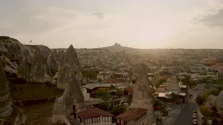 Cappadocia, Turkey. View of the famous Uchisar Castle. Goreme city view.