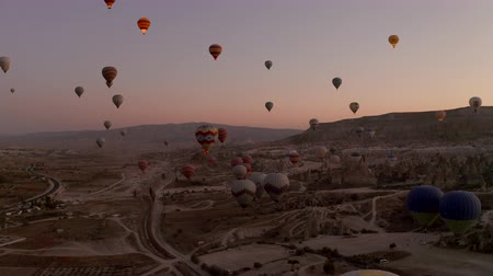 Balloons in Cappadocia. The general plan for dawning. Stock Footage