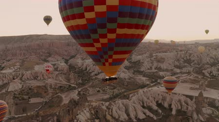 Balloons in Cappadocia. Chasing a ball on a drone. Goreme Stock Footage