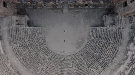 amphitheatre : Very ancient building. Aspendos, a Greek amphitheater Stock Footage