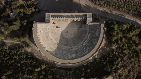 aerial athens : Very ancient building. Aspendos, a Greek amphitheater Stock Footage