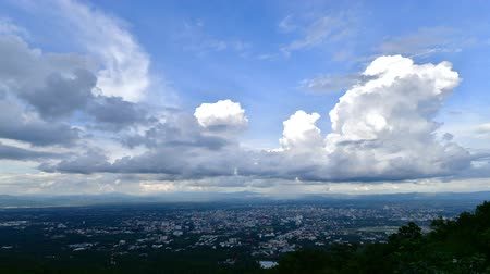 panoramic view : Chiang Mai city with clouds flowing, Thailand. Stock Footage