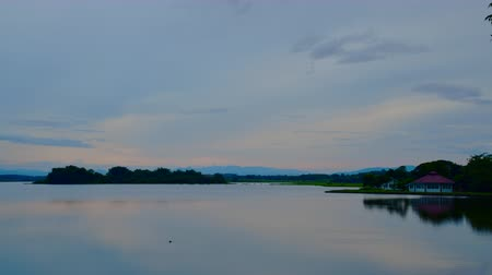 khong : 4K time lapse video of sunset at Chiang Saen lake, Thailand. Stock Footage