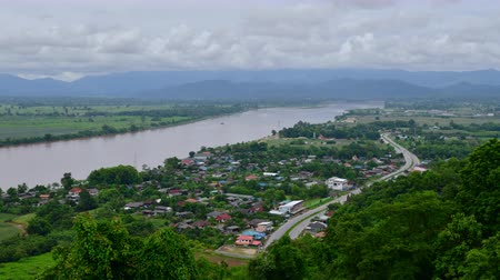 saen : 4K time lapse video of Mekong river with the Chiang Saen city, Thailand.