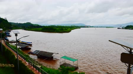 the mekong : 4K time lapse video of golden triangle area at Chiang Saen city, Thailand.