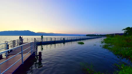 4K time lapse video of walk way in Kwan Phayao lake, Thailand.