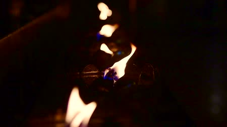 Slow motion video of flame from the lamp, Thailand.