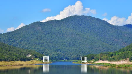 4K time lapse video of Mae Kuang Udom Thara dam with suspension bridge, Thailand.