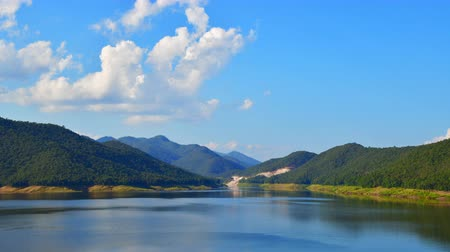 4K time lapse video of mountain with Mae Kuang Udom Thara dam, Thailand.