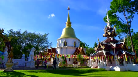 kutsal : 4K time lapse video of beautiful sanctuary building in Wat Pa Dara Phirom temple, Thailand. Stok Video