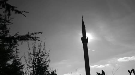 минарет : blue sky, plane and mosque minaret, silhouette of minaret, islam and minaret, minaret architecture,