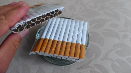 pŁuca : smoking, poor quality cigarette butts in the ashtray,