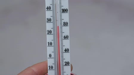 grau : a man has thermometer in hand, room temperature gauge thermometer