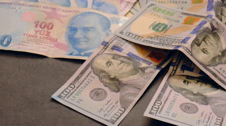 lira : american dollar and turkish lira on the world stock exchange Stok Video