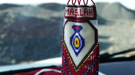 arabesk : turkish handicrafts, knitted automobile mashallah handwritten decor with pearl ornament