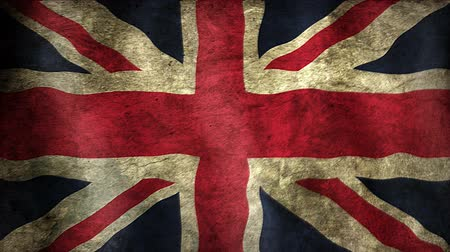 wielka brytania : Union British Flag. Animation of an british flag closeup. Stylized to old look.