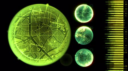 elektronika : Radar screen displaying cities. Seamless Looping