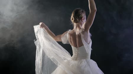 tiptoe : beautiful young ballet dancer dancing in the fog on black background. Portrait of ballerina. Slow motion. Stock Footage