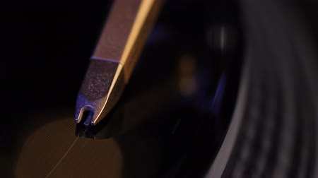 tonearm : Cinemagraph Loop Vinyl Record Player. Close up macro view. 4k