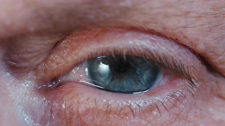 szemgolyó : SLOW MOTION: Contraction of the pupil. Beautiful blue eye iris of middle-aged woman. Peepers of old grandmother with wrinkles. Macro view.