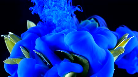 grafiti : Yellow flower underwater with blue Ink reacting and creating abstract cloud formations. Can be used as transitions, added to modern projects, art backgrounds. Amazing nature concept.