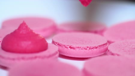 macarons : Macaroons - delicious and beautiful french dessert. Making pink macarons, squeezing and adding cream filling from pastry bag. Cooking, food and baking, pastry shop concept.