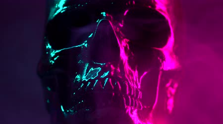 podsvícení : Model of human skull painted with black rotates on dark background with neon colorful pink and turquoise backlighting. Halloween celebration, glamour, style concept. Dostupné videozáznamy