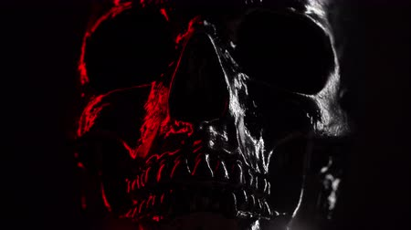 arkeolojik : Model of human skull painted with black on dark background with variable red illumination. Spooky and sinister., Halloween celebration