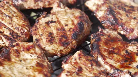 tenderloin : Cooking fresh juicy meat on grill barbecue Stock Footage