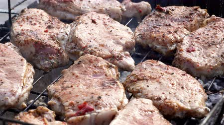 вырезка : Cooking fresh juicy meat on grill barbecue Стоковые видеозаписи