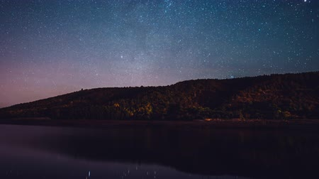 milkyway : Starry sky over mountain and river at night.Constellations and planets beautifully reflected in water.Milky way passing in long exposure timelapse.Nature, universe, galaxy, astronomy concept.