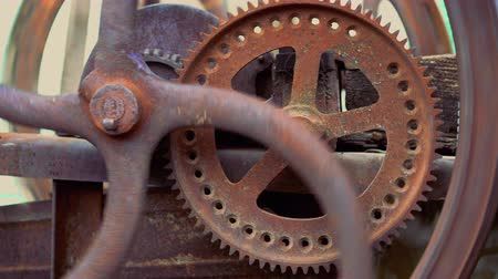 going round : Abstract movement of grunge industrial clock gears. Time, mechanical engineering, work concept Stock Footage
