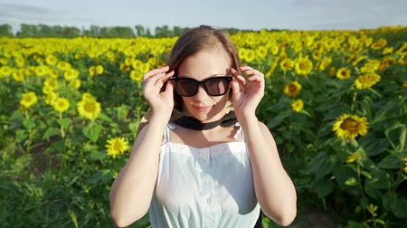 sunflower : Young pretty woman puts on sunglasses in sunflowerslooking to camera and smiling